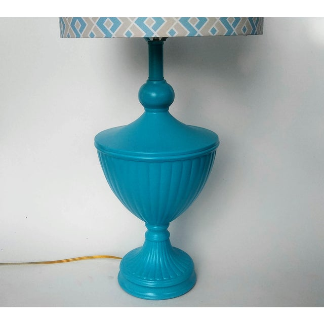 Hollywood Regency Hollywood Regency Turquoise Urn Table Lamp For Sale - Image 3 of 6