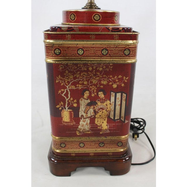 Light up your side table in vintage style with this 1960s Frederick Cooper chinoiserie tea canister converted table lamp....