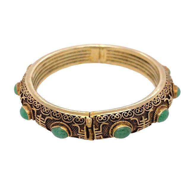 Vintage Chinese Gilt Silver Jade Hinged Bangle Bracelet For Sale