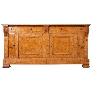 French 19th Century Burled-Elmwood Biedermeier Buffet For Sale