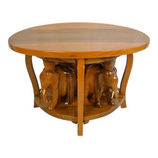 Exotic Carved Elephant Table, 5 Pieces For Sale