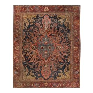 Antique Farahan Rug with Modern Industrial Style, Persian Area Rug For Sale