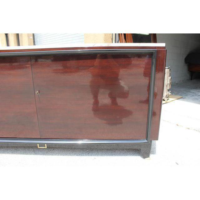 Maurice Rinck 1940s Maurice Rinck French Art Deco Marble Top Macassar Ebony Sideboard / Bar For Sale - Image 4 of 10
