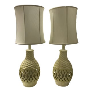 1960s Mid-Century Ceramic Bamboo Motif Lamps - a Pair For Sale