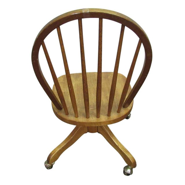 Oak Windsor Chair on Casters For Sale - Image 7 of 9