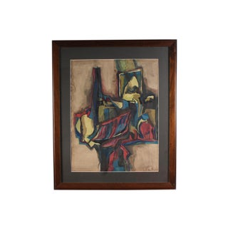 Mid-Century Gouache and Watercolor Abstract Still Life Painting For Sale
