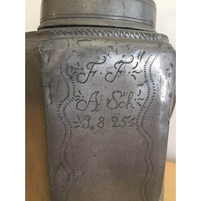 Antique 1925 Floral Etched Oil Decanter For Sale - Image 4 of 13