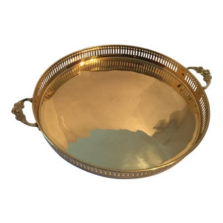 Filagree Round Brass Tray For Sale