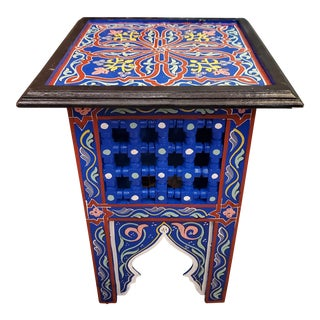 Moroccan Hand Painted Square Wooden End Table For Sale