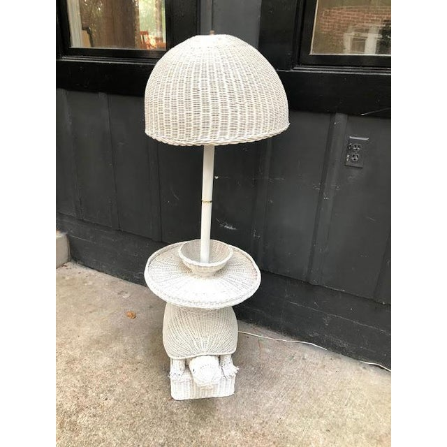1960s White Wicker Turtle Floor Lamp For Sale - Image 4 of 11