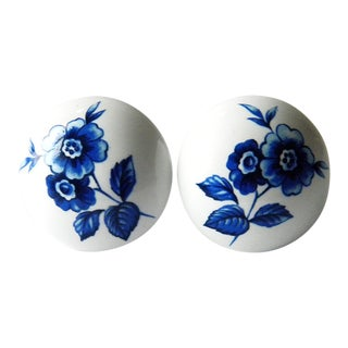 1980s Vintage Japanese White Ceramic Drawer Knobs Pulls With Blue Floral Design - a Pair For Sale