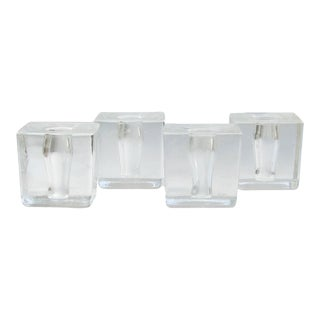 Mid-Century Acrylic Ice Cube Taper Candle Holders, Set of 4 For Sale