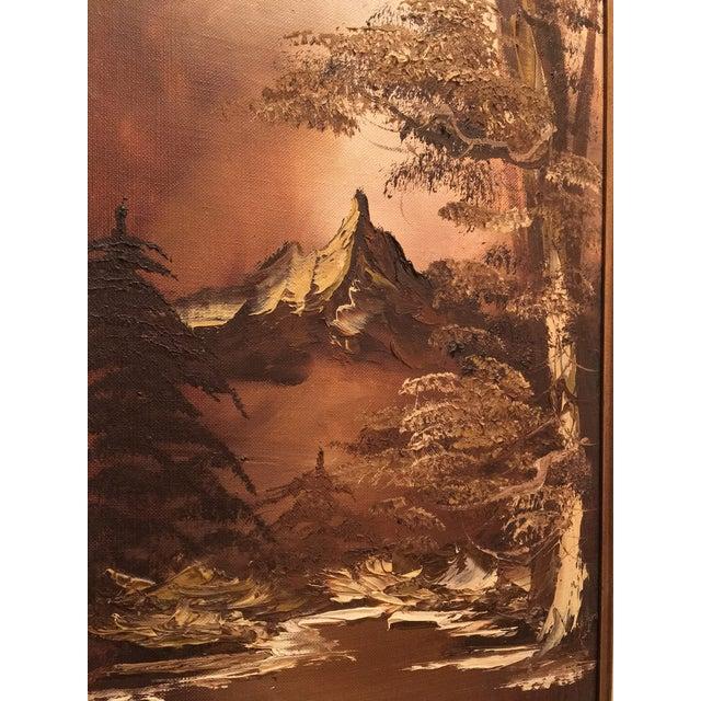Heritage Brown Landscape Palette Knife Oil by Martha Wills For Sale - Image 4 of 7