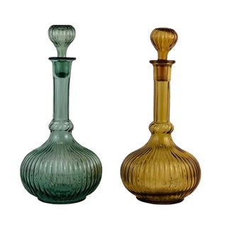 Mid Century Empoli Art Glass Ribbed Decanters - Set of 2 For Sale