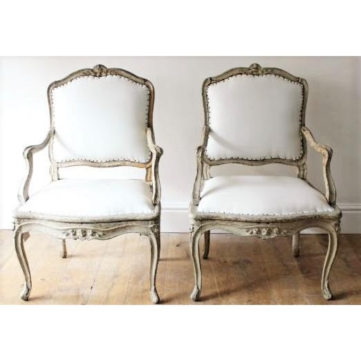 """Cotton 18th C Louis XV Armchairs, Signed """"Blanchard"""" Pair For Sale - Image 7 of 7"""