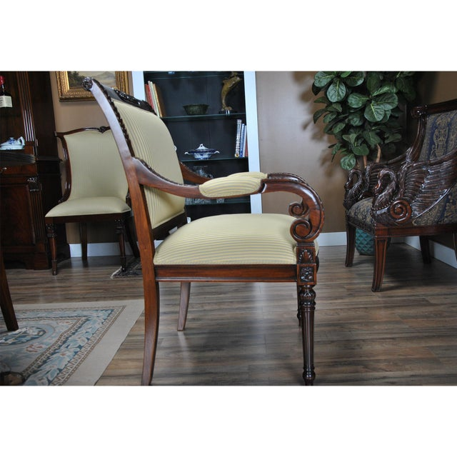 Empire Carved Empire Upholstered Arm Chair - a Pair For Sale - Image 3 of 13