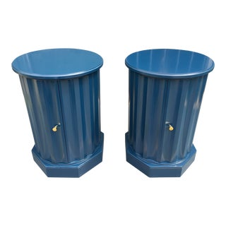 1950s Art Deco Dark Blue Lacquered Column Shaped Drum Tables - a Pair For Sale
