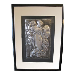 Framed Silver Tile With Angel Figure For Sale
