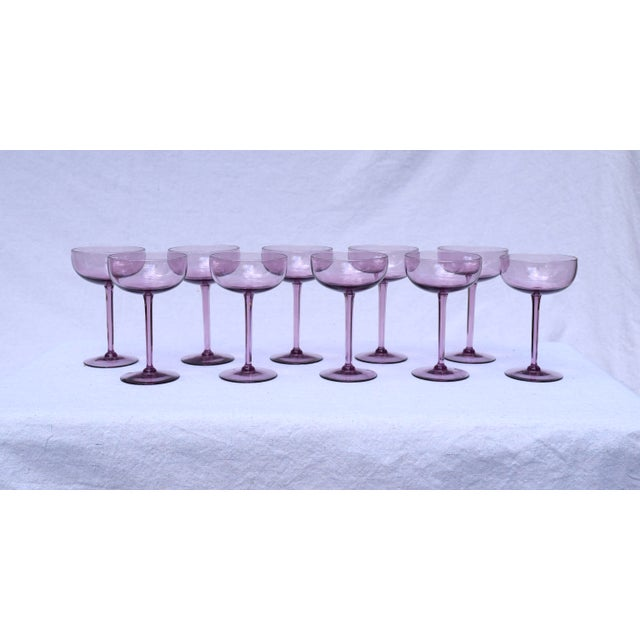 Amethyst Crystal Champagne Coupes For Sale In Philadelphia - Image 6 of 7