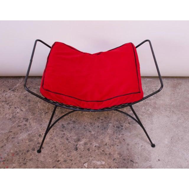 Mid-Century Modern Mid-Century Modern Iron Footstool / Ottoman For Sale - Image 3 of 12