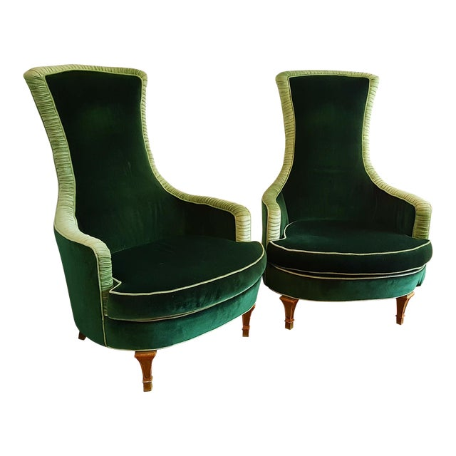 Emerald Green Velvet Club Chairs - A Pair For Sale