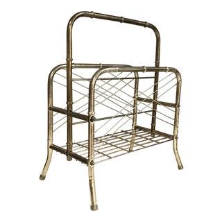 Mid-Century Modern Brass Wire Magazine Rack For Sale