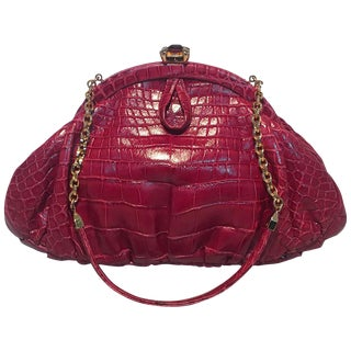 Judith Leiber Small Red Alligator Handbag For Sale