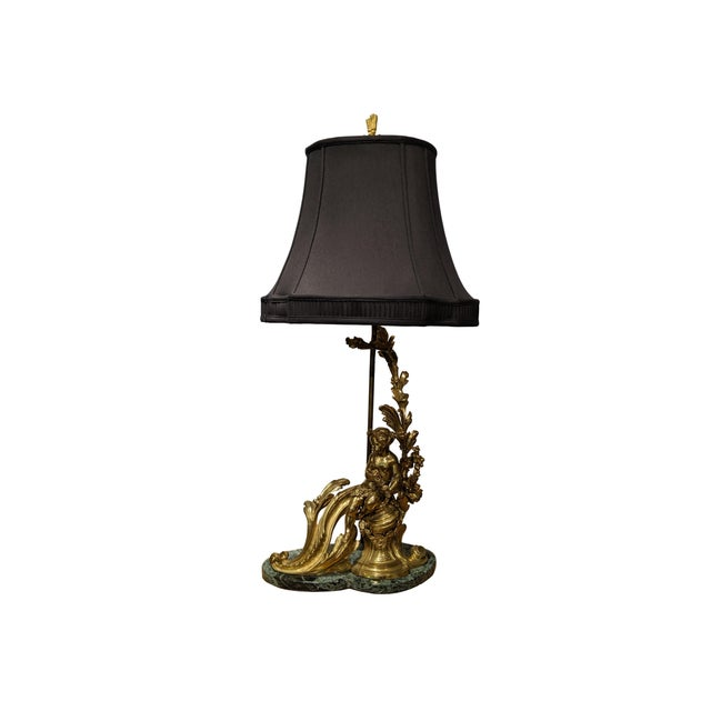 Rococo 19th Century French Ormolu Chenet Lamps With Shades - a Pair For Sale - Image 3 of 13