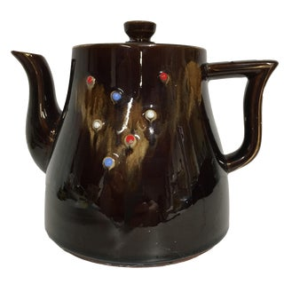 Vintage 50's-60's Redware Moriage Teapot Enamel & Gold Trim For Sale