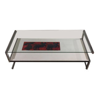 Italian Modernist Tile and Laminate Chrome Table