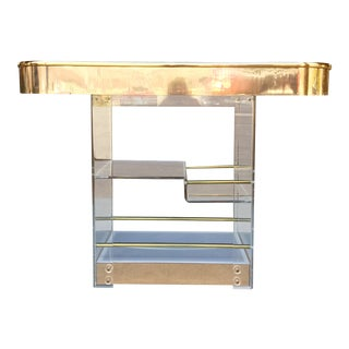 1970s Mid-Century Modern Hill Manufacturing Lucite and Brass Bar