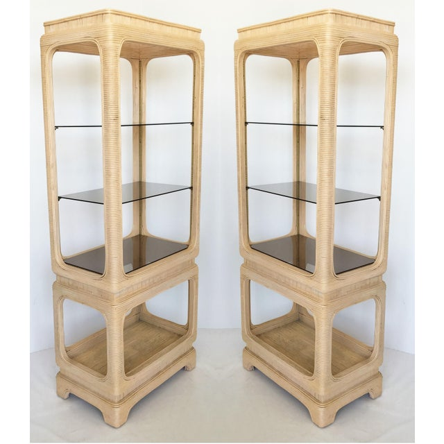 Pair of Vintage Mid-Century Modern Pencil Reed Bamboo Rattan Etageres For Sale - Image 12 of 12