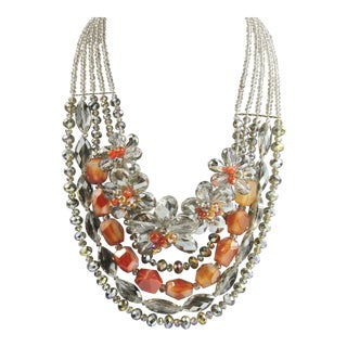 Agate & Lead Crystal Monumental Statement Necklace For Sale
