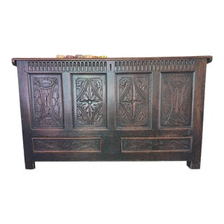 17th Century Antique Coffer Chest Trunk For Sale