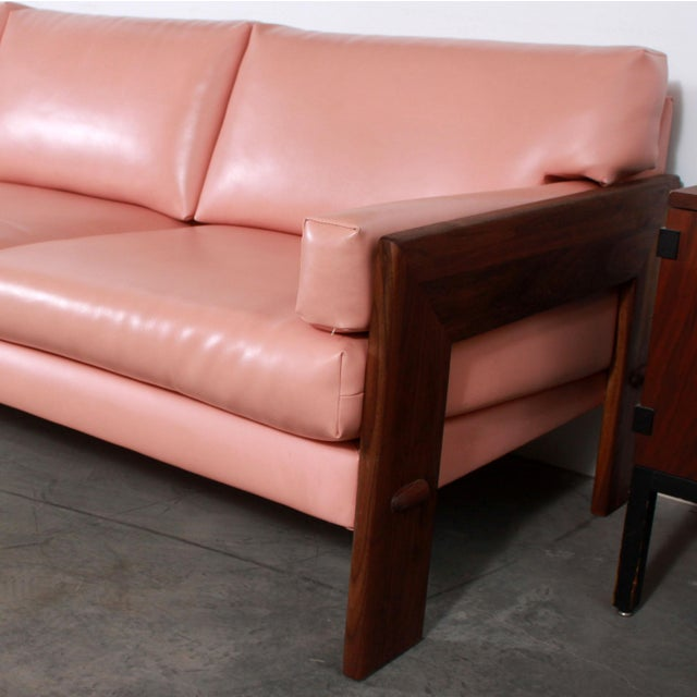 1960s Mid Century Modern Adrian Pearsall for Craft Associates Pink Vinyl & Walnut Sofa For Sale - Image 5 of 13