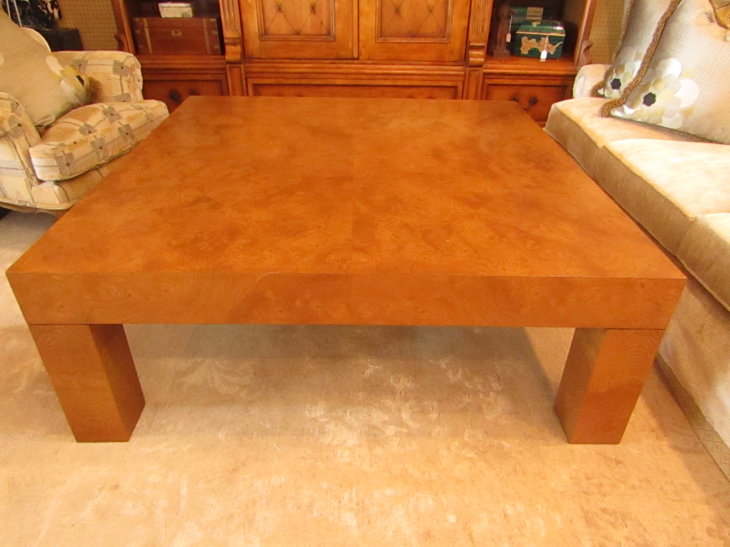 2000s Contemporary Style Burlwood Coffee Table For Sale   Image 5 Of 6