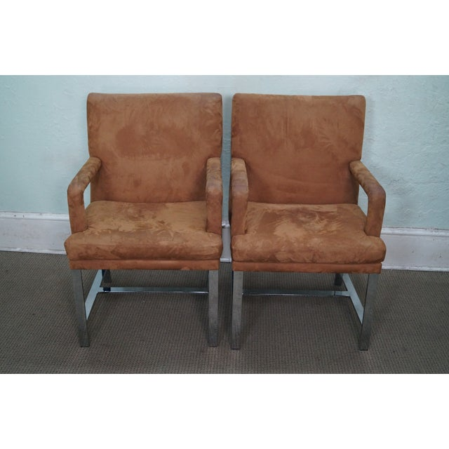 Milo Baughman mid-century modern pair of chrome frame armchairs. Approximately 45 years old and American-made. Some wear...
