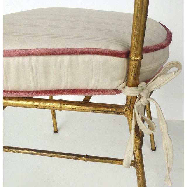 1950s 1970s Vintage Bagues Style Italian Gilt Iron High-Back Chairs- A Pair For Sale - Image 5 of 12