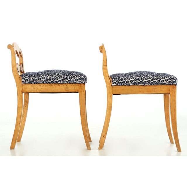 Biedermeier 19th Century Biedermeier Style Carved Fruitwood Lowback Side Chairs - a Pair For Sale - Image 3 of 10