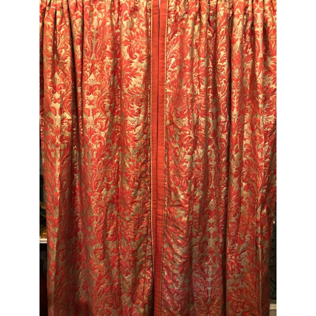 Mariano Fortuny Pair of Genuine Fortuny Gold & Orange-Red Curtains Drapes W Silk Verso For Sale - Image 4 of 8