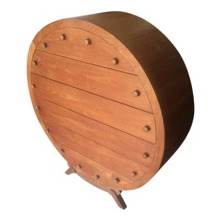 Custom Unique Danish Modern Teak Round Dresser