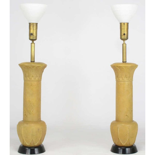 "Pair 51"" Terra Cotta Table Lamps With Acanthus Leaf Detail - Image 2 of 6"