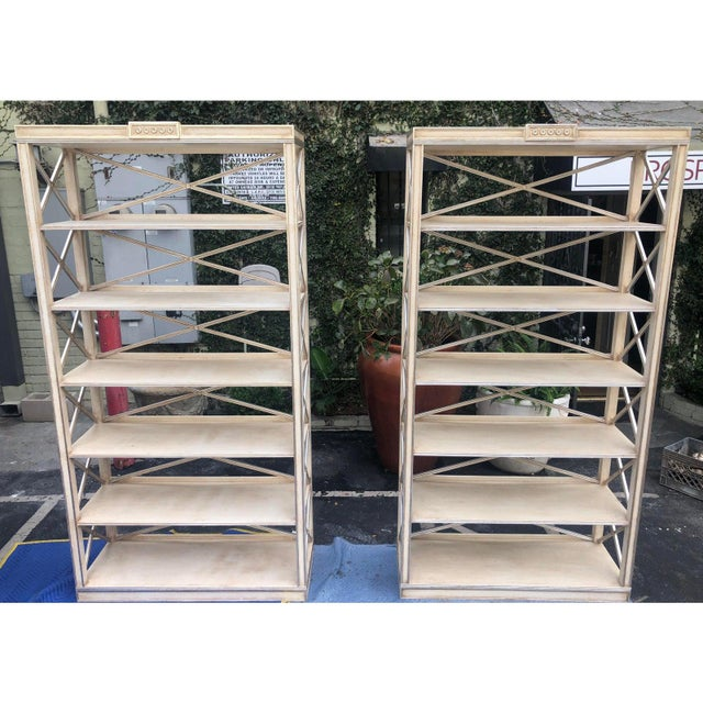 Pair of Charles Pollock Chateau White & Silver Swedish Empire Etagere Shelving Units For Sale In Los Angeles - Image 6 of 7