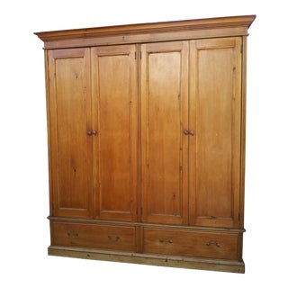 19th Century English Country Pine Wardrobe For Sale