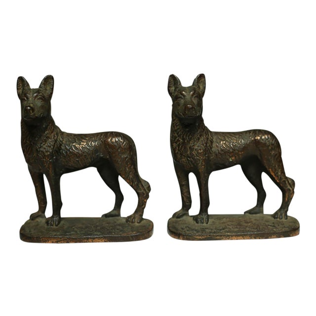 "Solid Bronze German Shepard Bookends Stamped ""1929 Gift House Inc. Nyc"" For Sale"