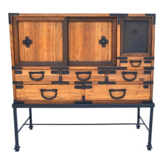Antique Japanese Choba Tansu With Iron Base For Sale