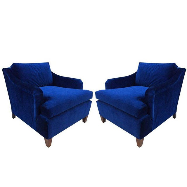 Pair of Art Deco Upholstered Lounge Chairs in Mohair - Image 3 of 3