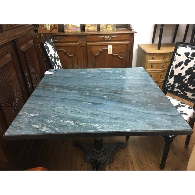 1930s 'Azul Do Mar' Quartzite French Bistro Dining Table For Sale - Image 5 of 12