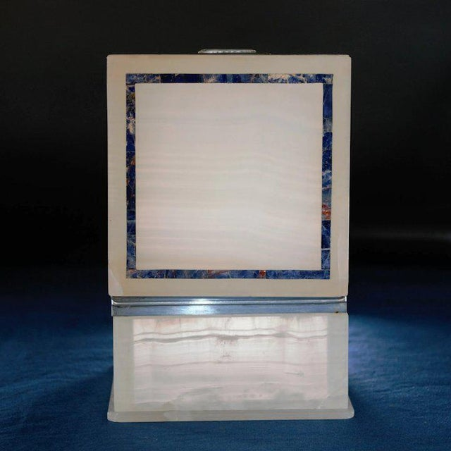 1910s Lapis Inlay Onyx Box For Sale - Image 5 of 13