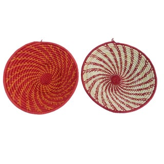 African Handwoven Burundi Baskets - A Pair For Sale